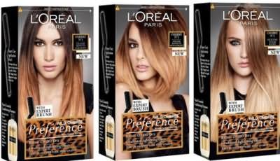 Палитра красок для волос Амбре от Лореаль