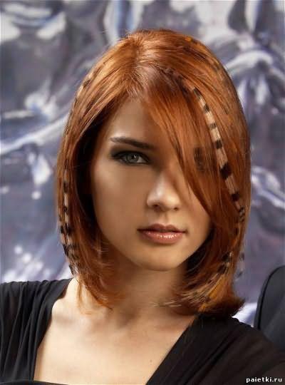 мелирование перьями на короткие волосы фото