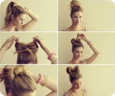 Фото-инструкция: прическа «бант из волос».