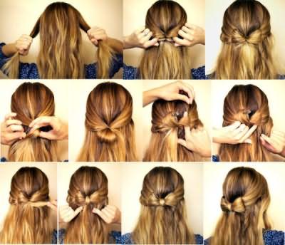 Это самый простой вариант сделать бантик на длинные волосы.