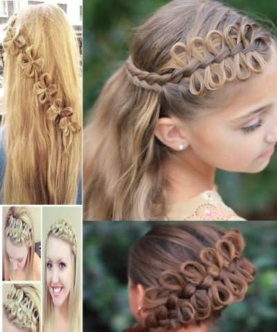 Коса с бантиками из волос, выглядит сложно, а выполняется просто.