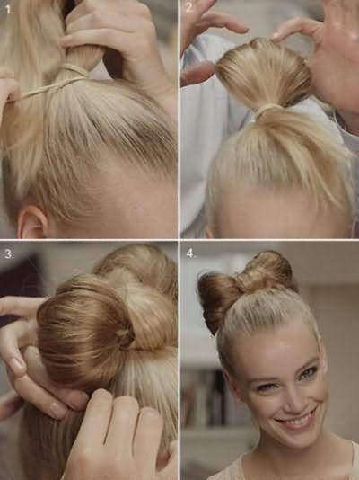 По аналогичному принципу создается детская прическа бантики из волос
