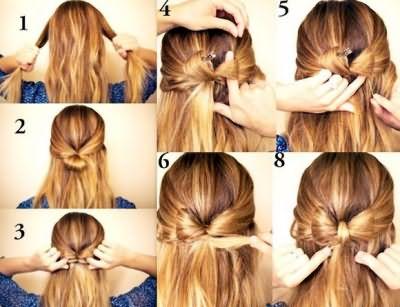 Схема прически бант из волос со свободными прядями
