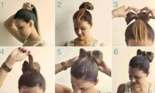 Пошаговая фото-инструкция создания прически бант из волос для средних локонов