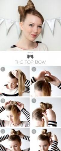Пошаговая инструкция создания прически высокий бант из волос для локонов русого оттенка