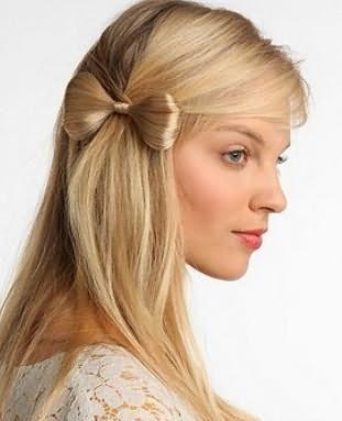 бант из волос на длинных волосах