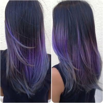 Фиолетовое омбре на коричневых волосах