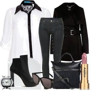 Рубашка в деловом стиле белого цвета с черной отделкой, с укороченными рукавами.