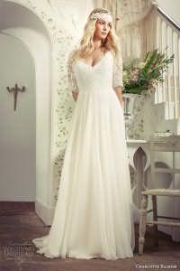 Свадебное платье белого цвета лилейного оттенка, с отрезной талией от Charlotte Balbier.