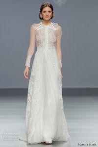 Полупрозрачное кружевное платье белого цвета, с длинными прозрачными рукавами от Marco and Maria.
