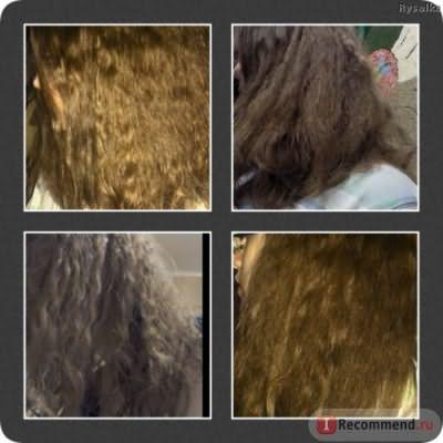 Левое фото вверху: сразу после процедуры, перед первой помывкой (через неделю), после, через 2 недели без укладки