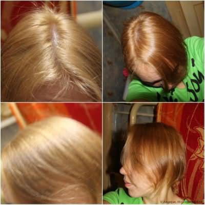 сразу после покраски волосы сухие,исскуственное освещение,слева без фотовспышки справа с фотовспышкой