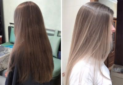 Эффект процедуры брондирования русых волос
