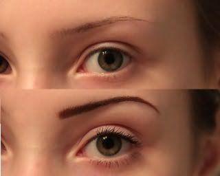 Окрашивание бровей с помощью карандаша на фото: до и после.