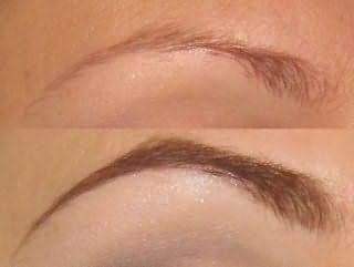Окрашивание бровей с использованием карандаша: до и после.