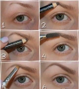 Фото пошаговой технологии окрашивания бровей карандашом.