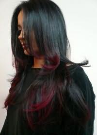 мелирование на черные крашеные волосы 6