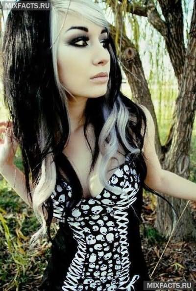 бело-черные волосы фото
