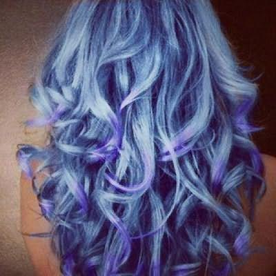 синие волосы