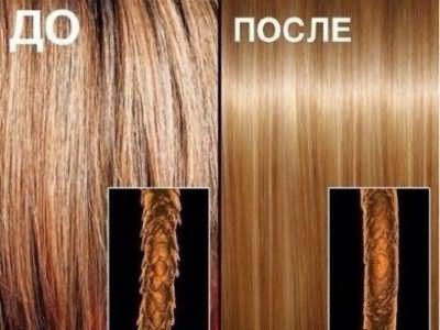 На фото общий вид и увеличенное изображение волос до и после ламинирования