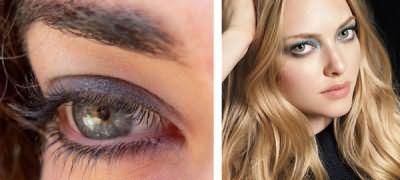 К серым очам не рекомендуется использовать насыщенные темные и светлые тона
