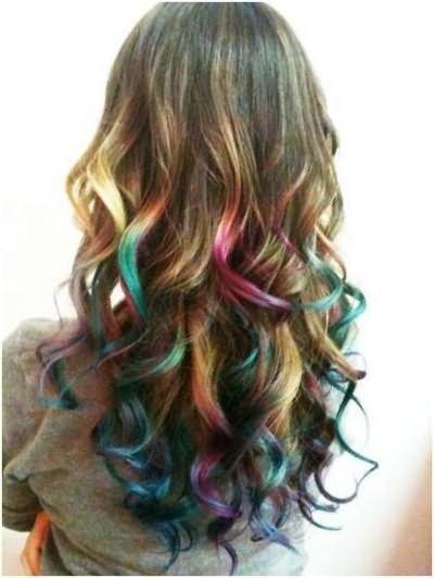 цветное омбре на темно русые волосы