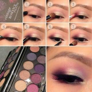 Стильный макияж в розово-фиолетовой гамме для карих глаз и рыжих волос: пошаговая инструкция на фото