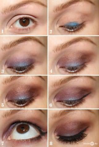 Техника создания макияжа карих глаз в коричнево-голубых тонах и с черными стрелками для обладательниц рыжих волос