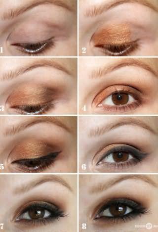 Идея вечернего макияжа в золотисто-черной гамме для карих глаз девушек с рыжими волосами: фото-инструкция