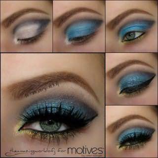 Пошаговое фото выполнения вечернего макияжа в зелено-голубых тонах для зеленых глаз рыжеволосых девушек