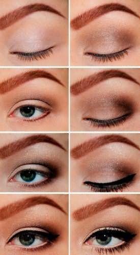 Дневной макияж с подводкой и коричневыми тенями для серо-зеленых глаз рыжеволосых девушек: фото