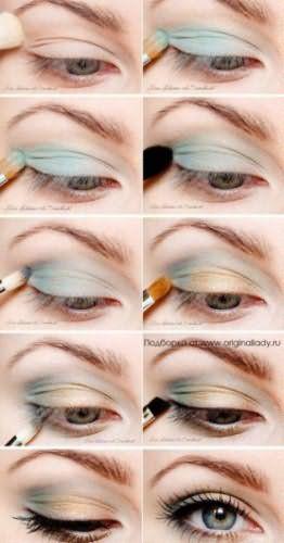 Вариант пошагового выполнения макияжа в голубых тонах для серых глаз и рыжих волос