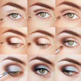 Повседневный макияж глаз в коричнево-голубой гамме для девушек с рыжими волосами: поэтапная технология