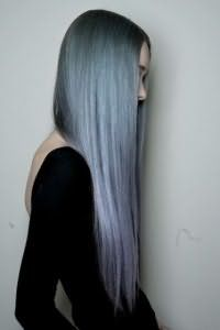 Длинные волосы темно-серого оттенка
