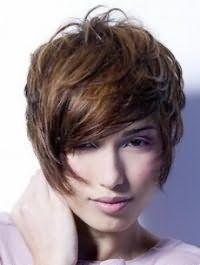 Короткая креативная стрижка с челкой на бок для волос каштанового оттенка