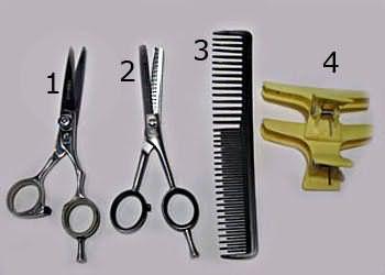 Необходимые инструменты (прямые ножницы, филировочные ножницы односторонние, расческа с редкими и широкими зубчиками, зажим)