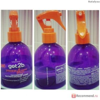 """Термозащитный выпрямляющий спрей для волос Schwarzkopf Got2b """"Утюжок"""" фото"""
