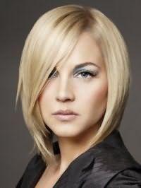 Модная стрижка удлиненное каре для блондинок с волосами средней длины