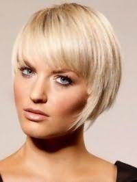 Асимметричная стрижка каре с челкой для блондинок с прямыми волосами