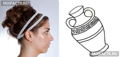 Как делать греческую прическу с повязкой?