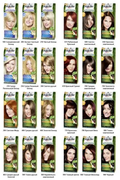 Естественные оттенки в палитре красок для волос Palette Фитолиния.