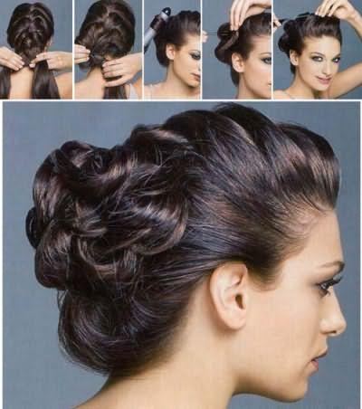 Пучок из косы – универсальная укладка, подходящая для любого события