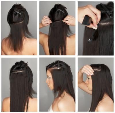 Последовательность действий при закалывании волос на клипсах