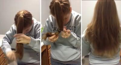 Получаются ровно подстриженные волосы средней длины