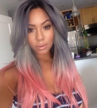 Эффектно смотрится серый в сочетании с фиолетовым, голубым и розовым