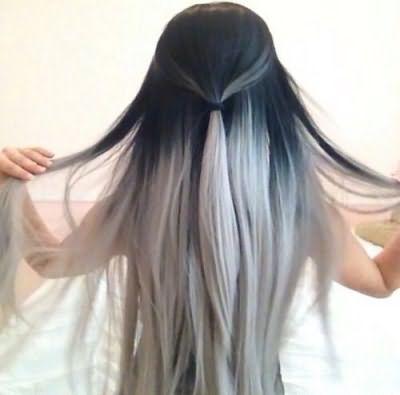 Фото пепельного омбре на темных волосах