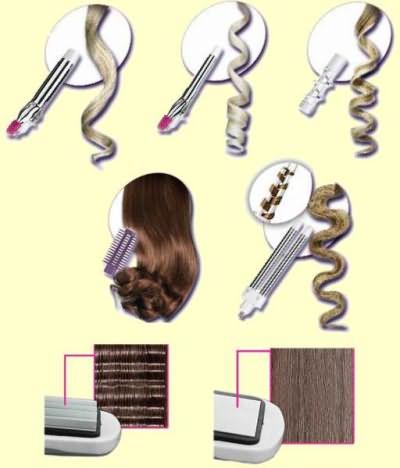 На фото варианты конфигурации локона с разными насадками