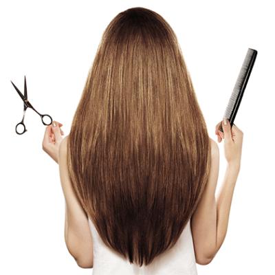 Модная треугольная форма на гладких волосах.