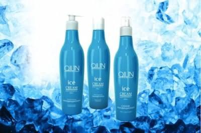 Зимняя серия для волос ICE CREM OLLIN включает в себя шампунь, кондиционер и спрей (цена – от 270 руб.)