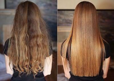Фото до и после химического выпрямления